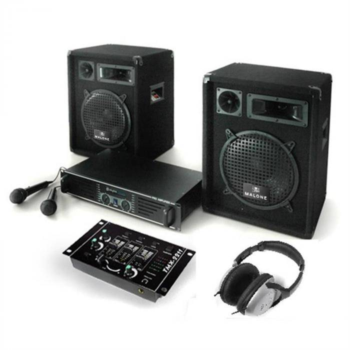 "Electronic-Star PA-setti ""Bass Boomer"" vahvistin kaiuttimet mikrofoni 800W"