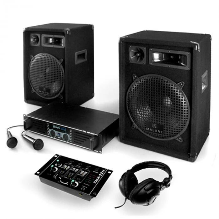 "Electronic-Star PA-setti ""Bass Boomer USB"" vahvistin, kaiuttimet, mic 800W"