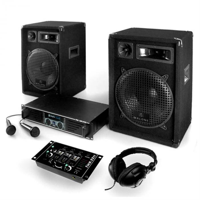 "Electronic-Star PA-setti ""Basstigall"" vahvistin kaiuttimet mikrofonit 1200W"