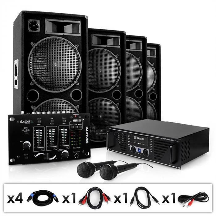 "Electronic-Star PA-setti ""Bassbrigade USB""vahvistin kaiuttimet mikseri 4000W"