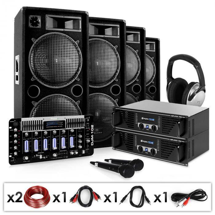"Electronic-Star DJ- PA-setti ""Bass First Pro"" 2x amp 4x kaiuttimet mikseri"