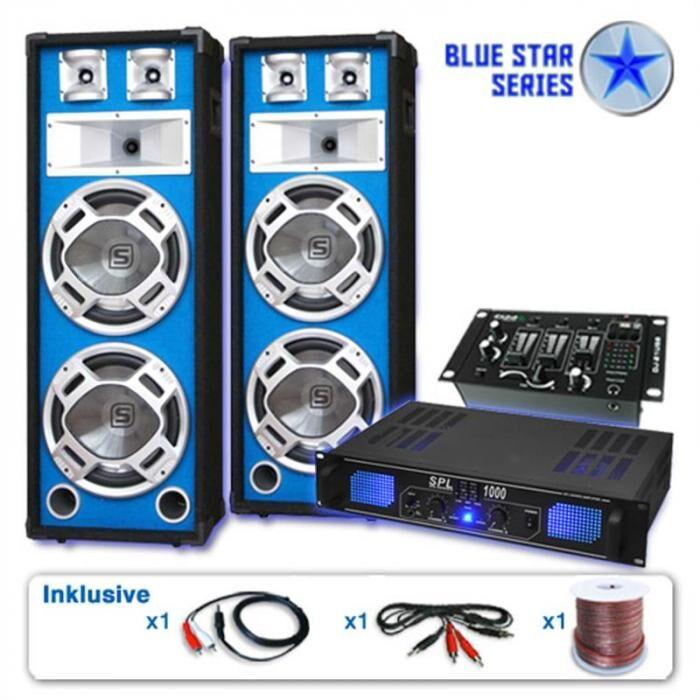 """Electronic-Star PA-setti Blue Star-sarja """"Basskern USB"""" 2800W"""