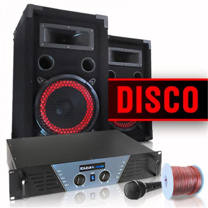 """Electronic-Star DJ- ja PA-täyssetti """"Disco"""" vahvistin kaiuttimet mikki"""