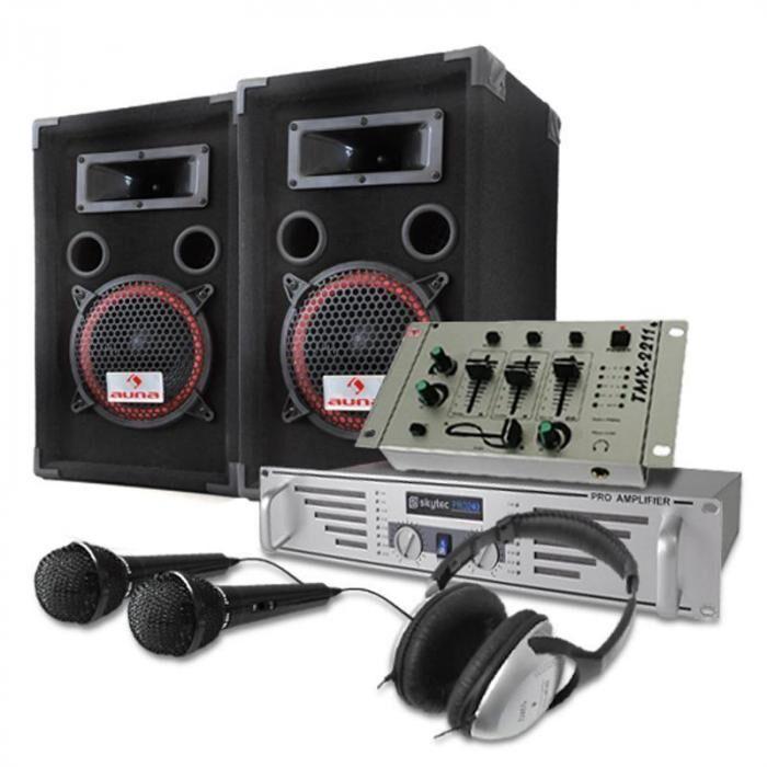 Electronic-Star DJ- PA-setti 1000W kaiuttimet, vahvistin, mikseri, mikrofoni