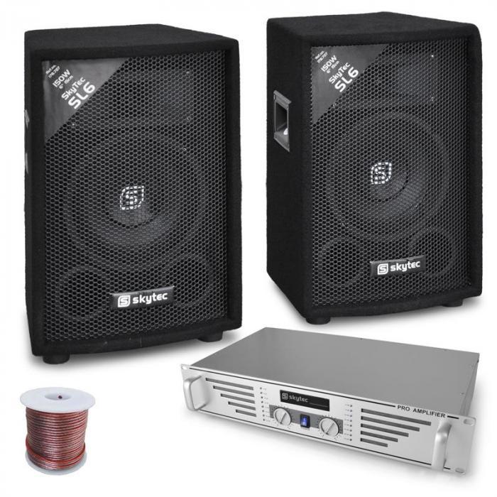 "Skytec DJ- PA-setti ""Rookie"" vahvistin kaiuttimet 800W"
