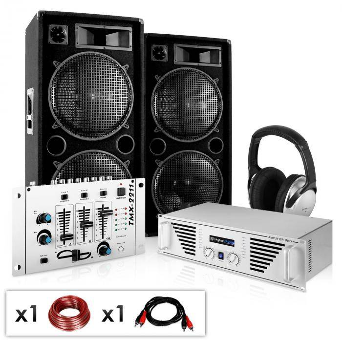 "Electronic-Star DJ-PA Set ""N.Y. Fireblade"" vahvistin, kaiuttimet, mix 2000W"
