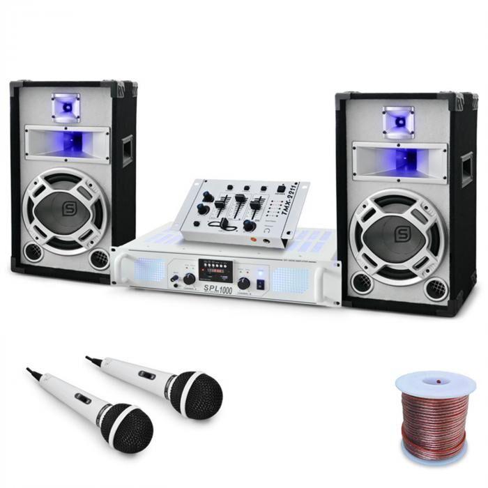 "Electronic-Star DJ- PA-setti ""PolarFox"" mikseri, amp, kaiuttimet 1500W"
