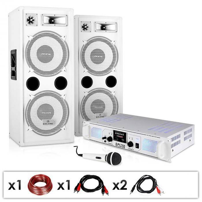 "Electronic-Star DJ-PA-setti ""DJ-22"" vahvistin, kaiuttimet, mic, johto 1000W"