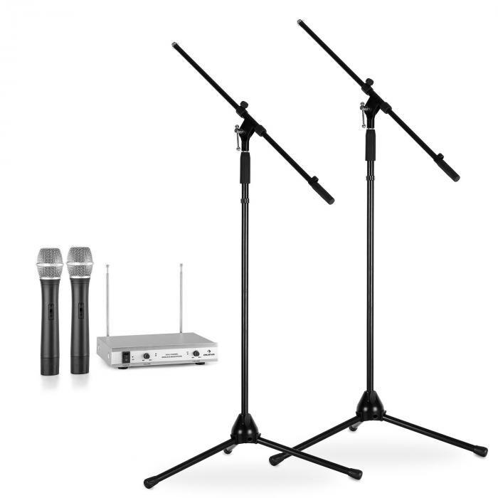Electronic-Star Langaton mikrofonisetti jaloilla 2 VHF-radiomikrofoni 2 mikrofonijalkaa hopea