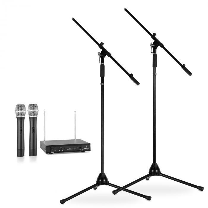 Electronic-Star Langaton mikrofonisetti jaloilla 2 VHF-radiomikrofoni 2 mikrofonijalkaa musta