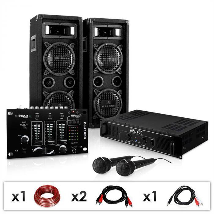 Electronic-Star DJ-24M-setti, vahvistin, kaiuttimet, mikrofonit, 1200W