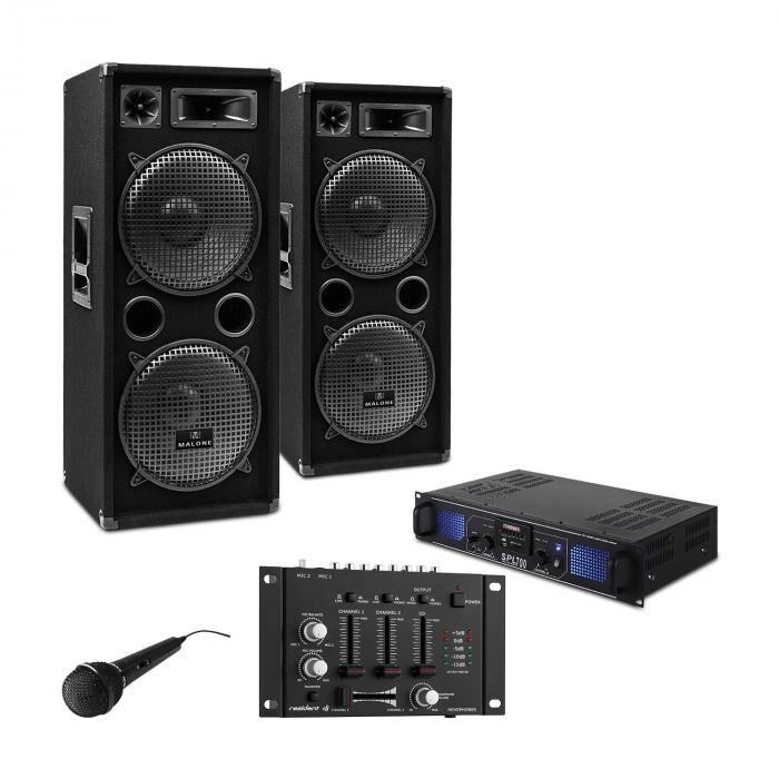 "Electronic-Star DJ-PA-setti ""DJ-27"" - vahvistin, PA-kaiuttimet, 2000 W, USB, SD, MP3"
