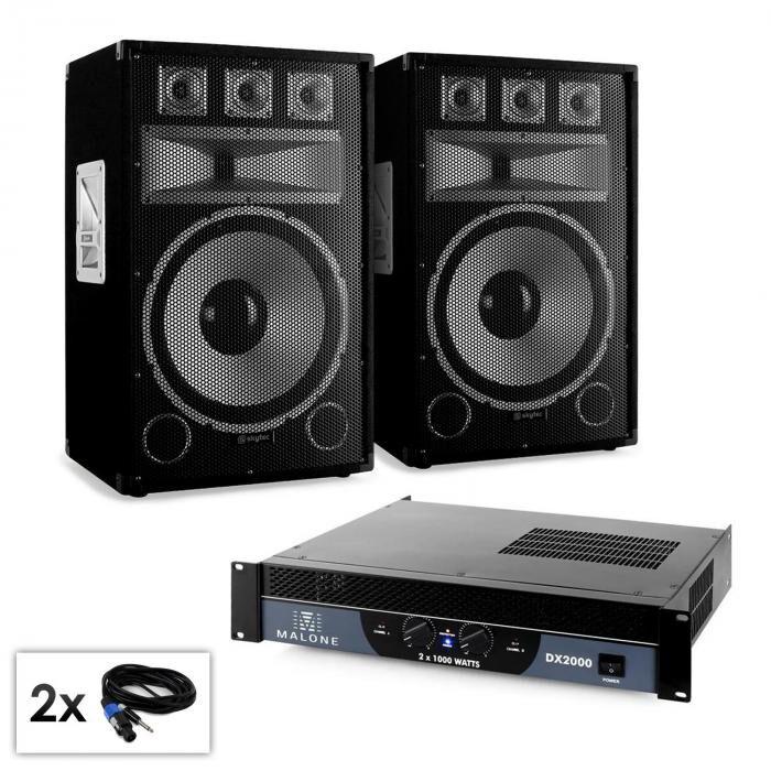 "Electronic-Star PA-setti Saphir-sarja ""Warm Up Party TX15"" 38 cm kaiuttimet & vahvistin 2000W"