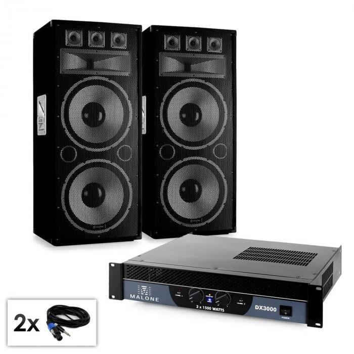 "Electronic-Star PA-setti Saphir-sarja ""Warm Up Party TX215"" 2x38 cm kaiuttimet & vahvistin 3000W"