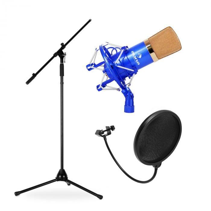 Electronic-Star Lava- & studio-mikrofonisetti CMBG001B mikrofoni, teline ja mikrofonisuoja