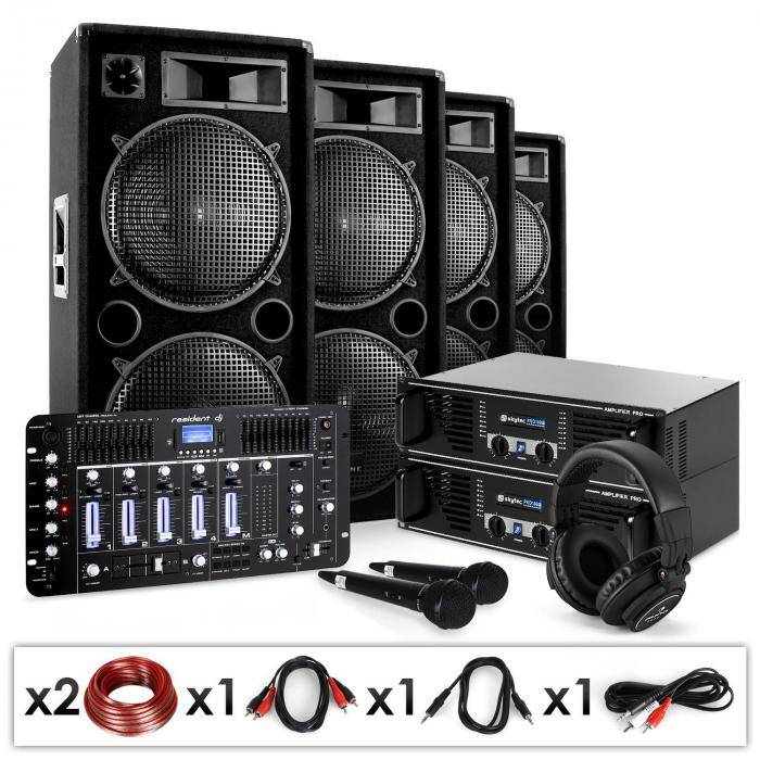 "Electronic-Star DJ-PA-setti ""Bass First Pro Bluetooth"" 2x amp 4x kaiutin mikseri 4000W"