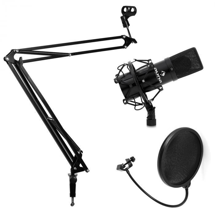 Electronic-Star Studiomikrofonisetti, jossa mikrofoni & taitettava teline & pop-filtteri musta