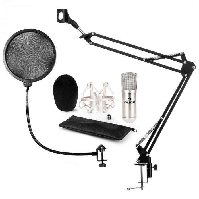 Auna CM001S mikrofonisetti V4 kondensaattorimikrofoni XLR kääntövarrella ja POP-suojalla hopea