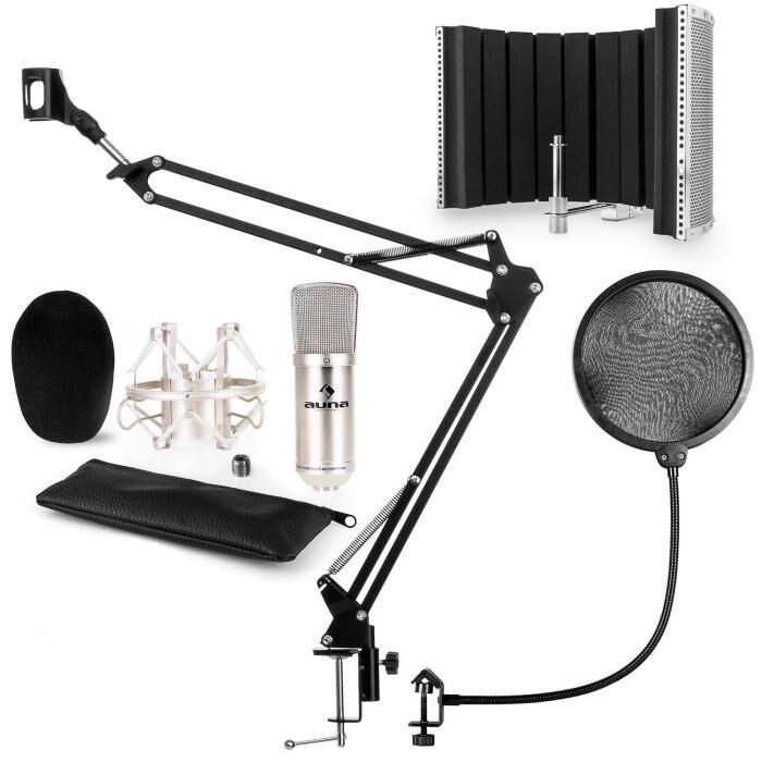 Auna CM001S mikrofonisetti V5 kondensaattormikrofoni jalusta pop-suoja suojus hopea