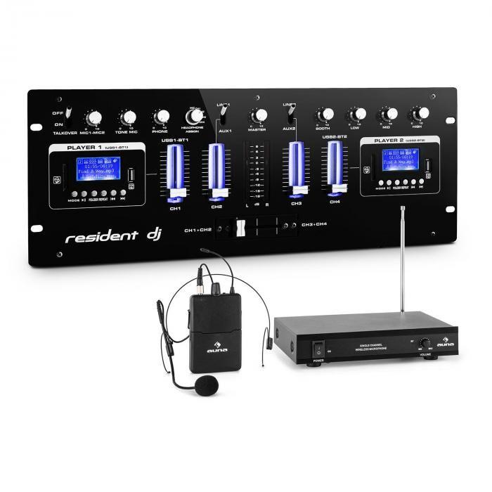 Resident DJ DJ405USB-BK 4-kanavainen DJ-miksauspöytä sis. VHF-radiomikrofonisetin headsetillä