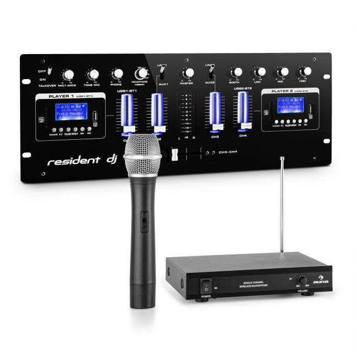 Resident DJ DJ405USB-BK 4-kanavainen DJ-miksauspöytä sis. 1-kanavaisen VHF-radiomikrofonisetin