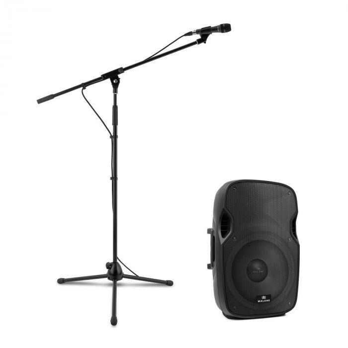 Malone PW-2915 aktiivinen PA-kaiutinsetti mikrofonilla 800 W musta