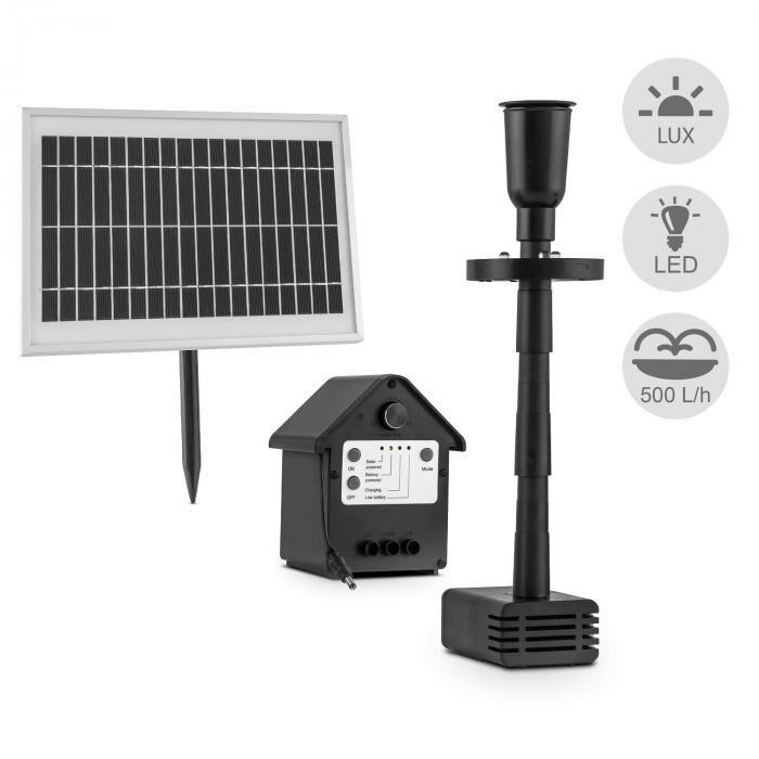 Blumfeldt Wasserwerk 500 vesipumppu aurinkovoima suihkulähde 500 l/h LED akku