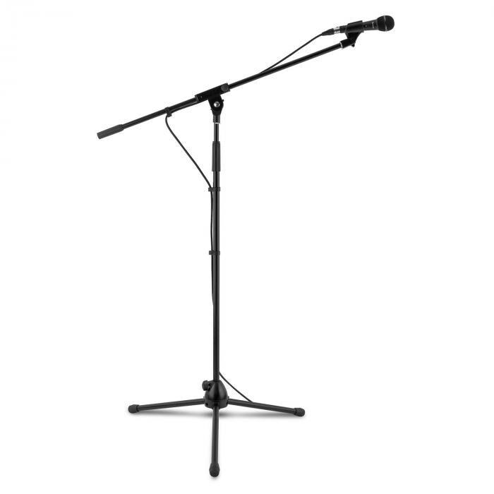 Auna KM 01 BK mikrofonisetti 4-osainen mikrofoni teline pidike kaapeli 5 m