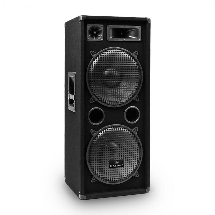 Malone PW-2222 PA DJ 3-tie kaiutin 2 x 30cm 1000W