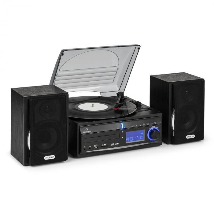Auna DS-2 stereolaitteisto vinyylilevysoitin CD MP3-nauhuri USB SD FM kaiuttimet