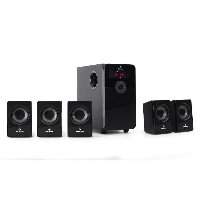 Auna 5.1-kaiutinsetti Auna HF583 USB-SD-MP3 Radio 70 W RMS (20 W + 5 x 10 W)