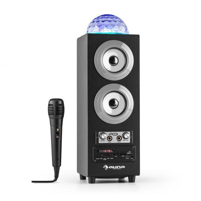 Auna DiscoStar Silver kannettava 2.1-bluetooth-kaiutin USB SD akku LED mikrofoni