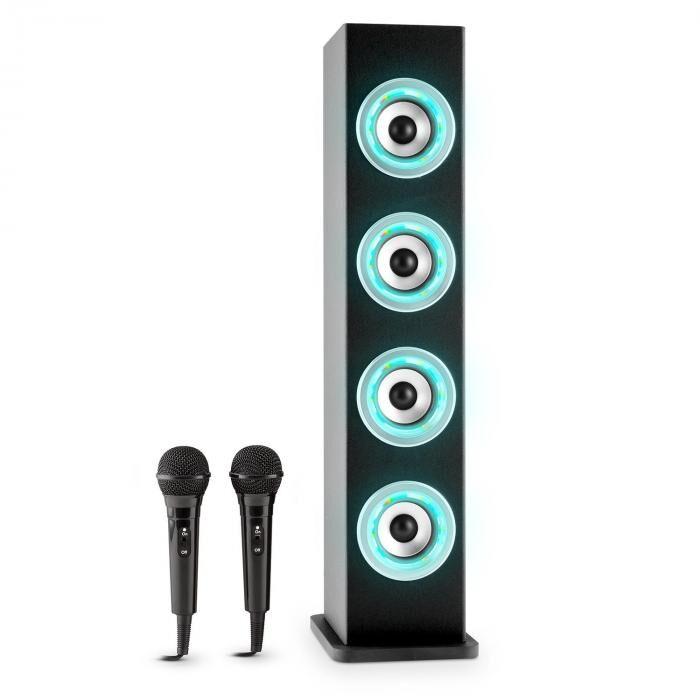 Auna Karaboom LED Bluetooth-kaiutin USB AUX karaoke 2 x mikrofoni