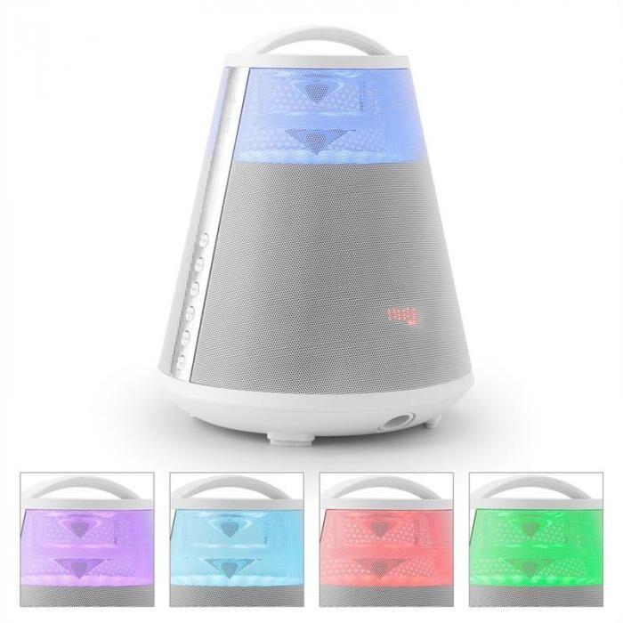LTC FREESOUND65 Bluetooth-kaiutin akku 360° Sound LED AUX USB SD UKW valkoinen