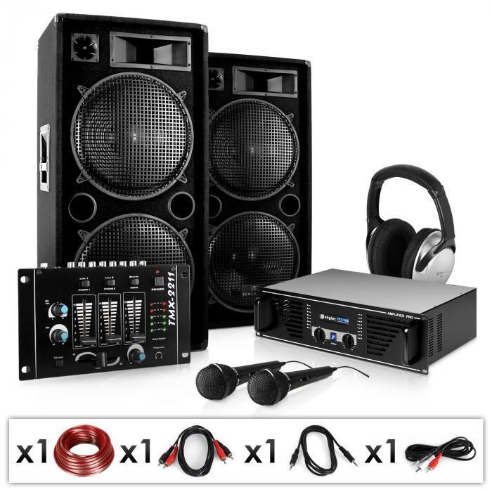 """Electronic-Star PA-setti """"Block-Party"""" vahvistin kaiuttimet mikrofoni 2000W"""