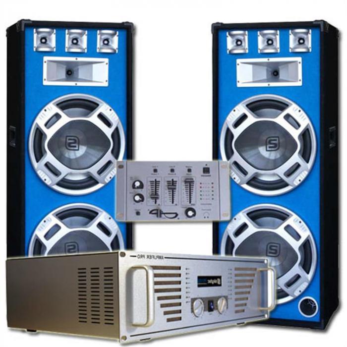 """Electronic-Star DJ-setti """"Bouncer"""" vahvistin kaiuttimet mikseri"""
