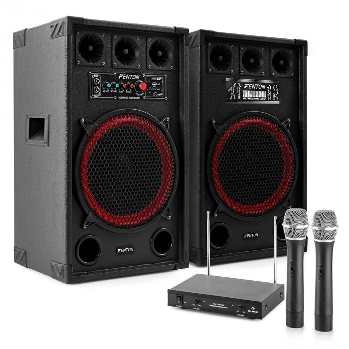 "Electronic-Star Karaokelaitteisto ""STAR-Kreuzberg"" PA-kaiuttimet 800 W   VHF-radiomikrofonisetti"