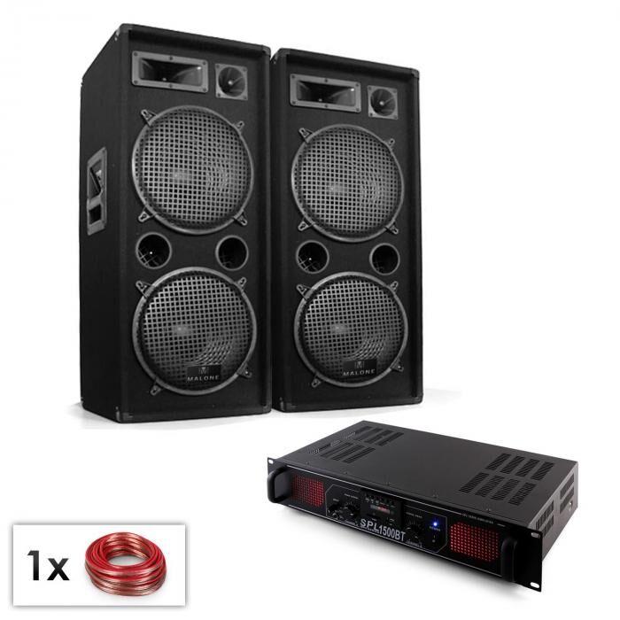 "Electronic-Star PA-setti ""Malone SPL Bluetooth MP3"" pari 2x12"" kaiutin & vahvistin 1500W"