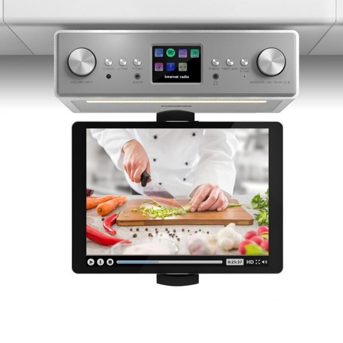 """Auna Connect Soundchef keittiöradio tabletinpidikkeellä DAB+ UKW 2x3""""-kaiuttimet valkoinen"""