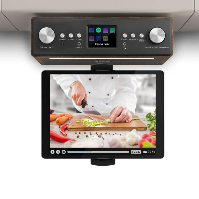 """Auna Connect Soundchef keittiöradio tabletinpidikkeellä DAB+ UKW 2x3""""-kaiuttimet pähkinä"""