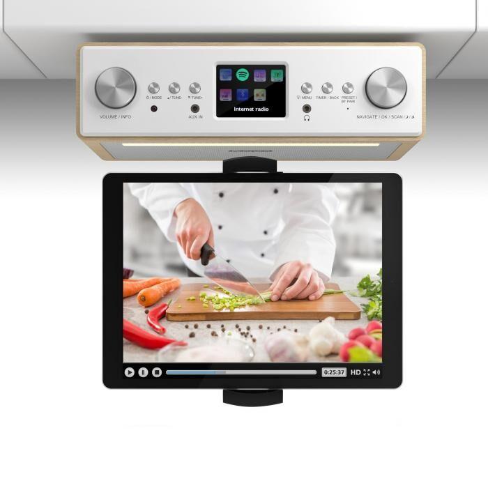 """Auna Connect Soundchef keittiöradio tabletinpidikkeellä DAB+ UKW 2x3""""-kaiuttimet pyökki"""