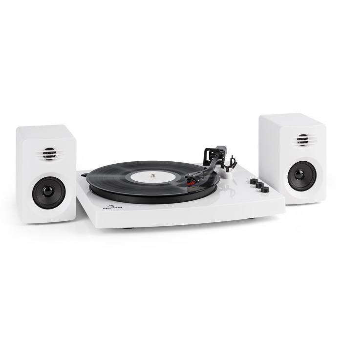 """Auna TT-Play levysoitin 2 stereokaiutinta (3""""/10 W) bluetooth 33 1/3 & 45 rpm valkoinen"""