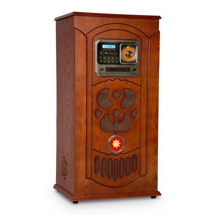 Auna Musicbox jukebox, levysoitin, CD-soitin, bluetooth, USB, SD, FM-radio, puuta
