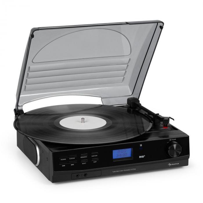 Auna TT-186 DAB levysoitin DAB+/FM bluetooth-toiminto hihnaveto 33/45 rpm