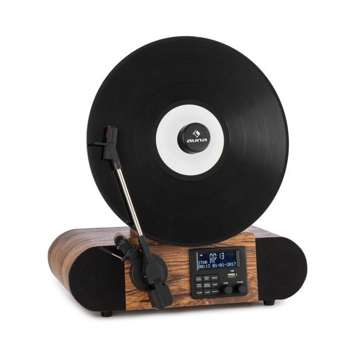 Image of Auna Verticalo SE DAB -retrolevysoitin DAB+ FM-radio USB BT AUX puu