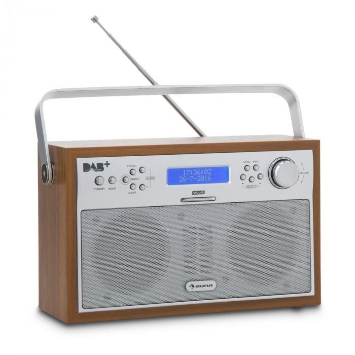 Auna Akkord digitaalinen radio kannettava DAB+/PLL-FM radio hälytys LCD pähkinänvärinen