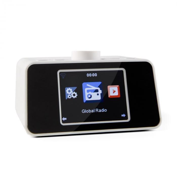 """Auna I-snooze internetradio radioherätys WLAN USB AUX 3,2 """" TFT-värinäyttö valkoinen"""