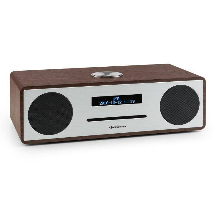 Auna Stanford DAB-CD-radio DAB+ bluetooth USB MP3 AUX UKW pähkinä