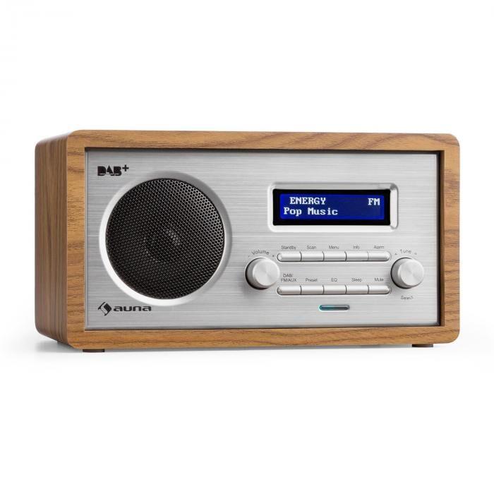Auna Harmonica DAB+/FM-radio dual-alarm aux LCD puukotelo saksanpähkinä