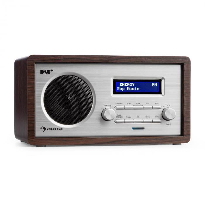 Auna Harmonica DAB+/FM-radio dual-alarm aux LCD puukotelo wenge